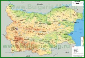 Физическая карта Болгарии
