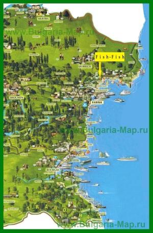 Карта побережья Болгарии с курортами