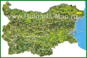 Туристическая карта Болгарии с курортами